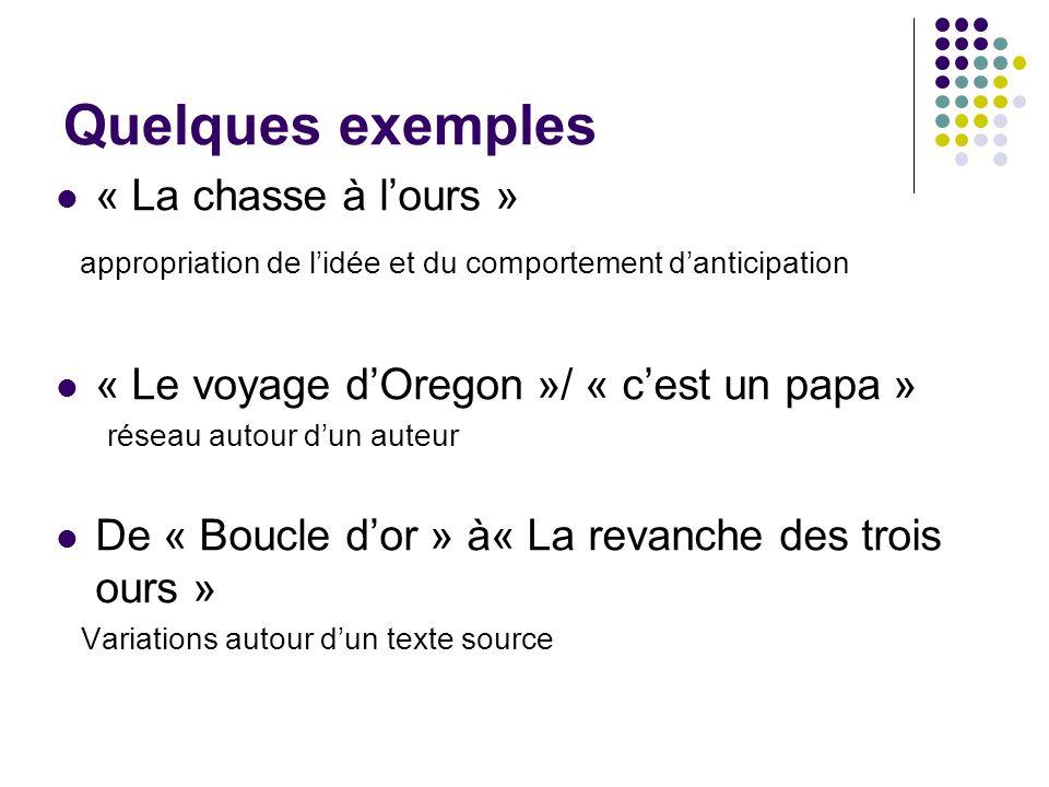 Quelques exemples « La chasse à lours » appropriation de lidée et du comportement danticipation « Le voyage dOregon »/ « cest un papa » réseau autour