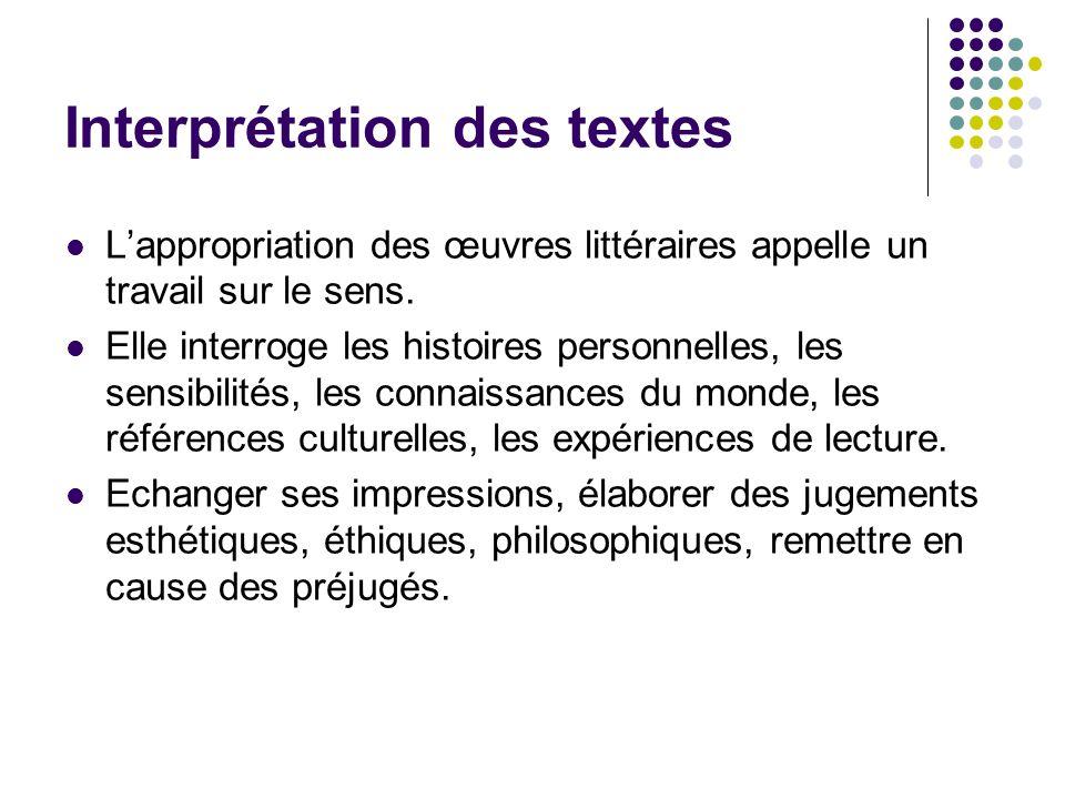 Interprétation des textes Lappropriation des œuvres littéraires appelle un travail sur le sens. Elle interroge les histoires personnelles, les sensibi