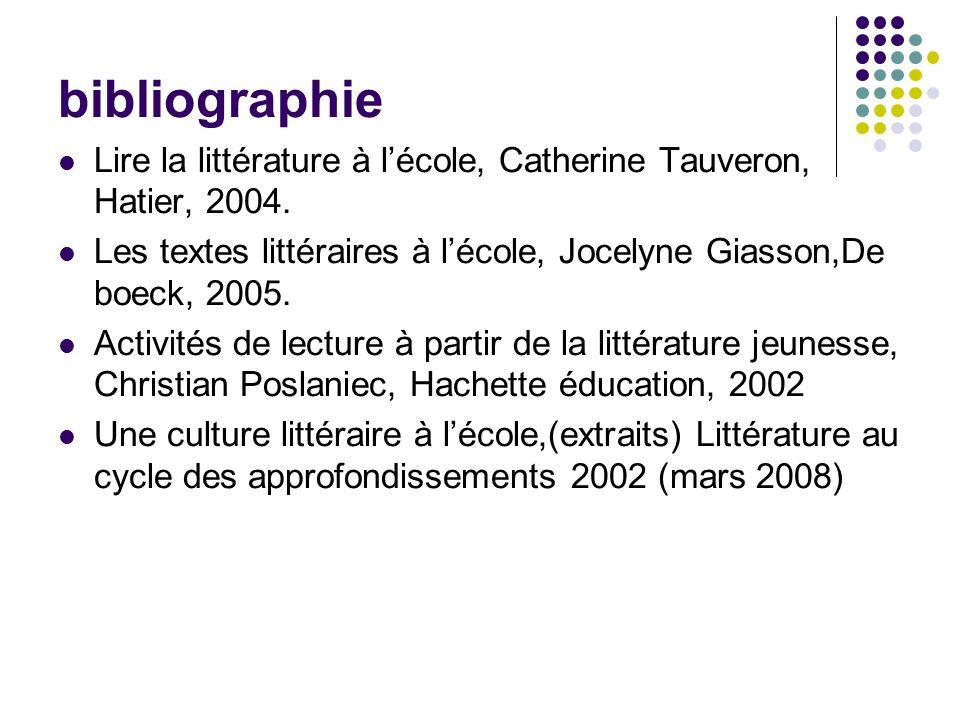 bibliographie Lire la littérature à lécole, Catherine Tauveron, Hatier, 2004. Les textes littéraires à lécole, Jocelyne Giasson,De boeck, 2005. Activi