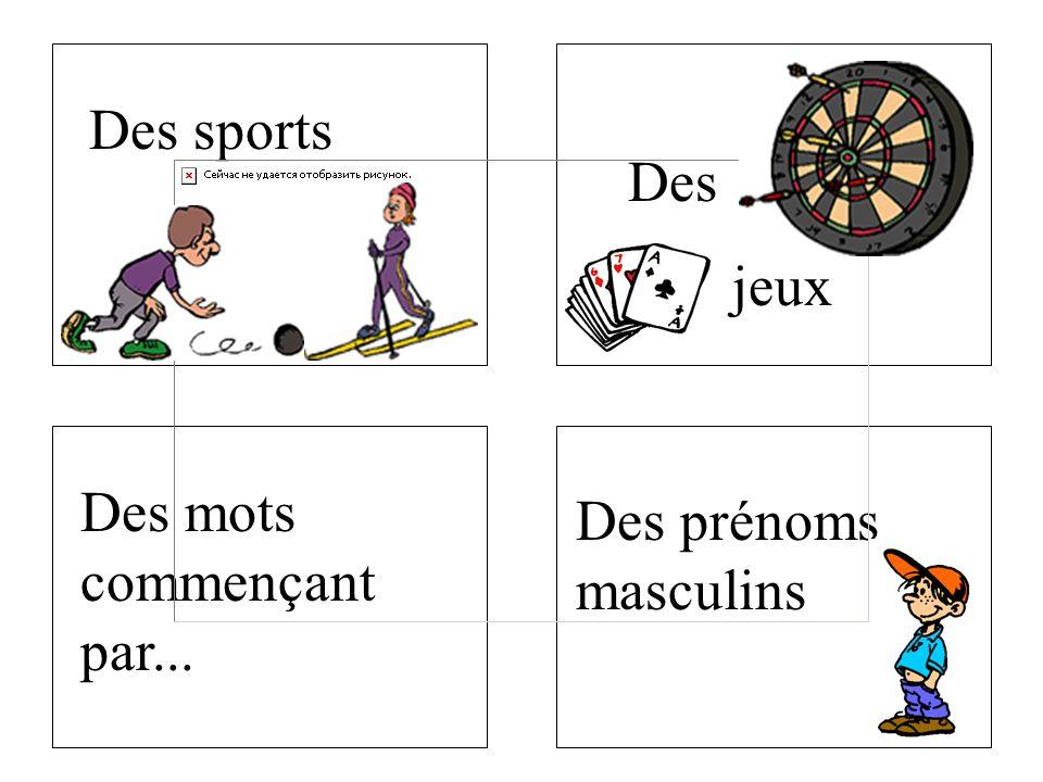 Des mots commençant par... Dessports Des jeux Des prénoms masculins