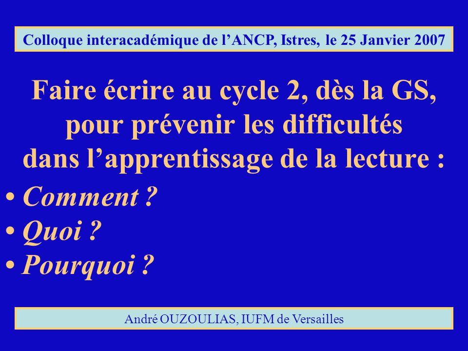 Faire écrire au cycle 2, dès la GS, pour prévenir les difficultés dans lapprentissage de la lecture : Colloque interacadémique de lANCP, Istres, le 25