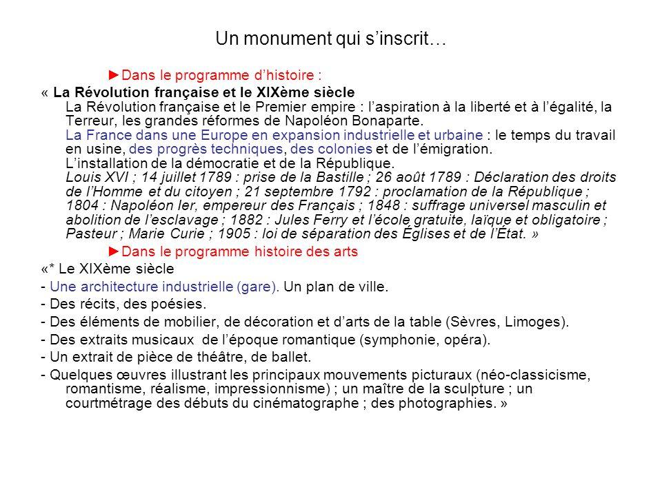 Un monument qui sinscrit… Dans le programme dhistoire : « La Révolution française et le XIXème siècle La Révolution française et le Premier empire : l