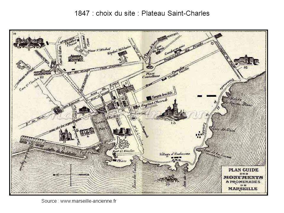 1848 : inauguration dun embarcadère provisoire 1852-1858 : travaux de construction de la gare Source : MIP-Provence