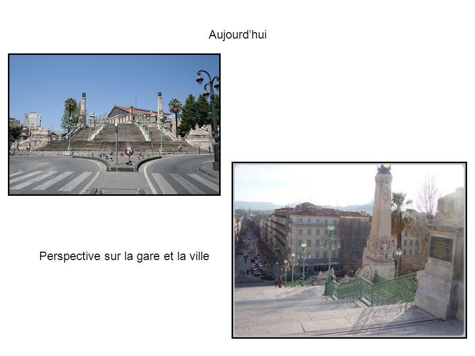 Aujourdhui Perspective sur la gare et la ville