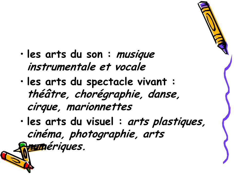 les arts du son : musique instrumentale et vocale les arts du spectacle vivant : théâtre, chorégraphie, danse, cirque, marionnettes les arts du visuel