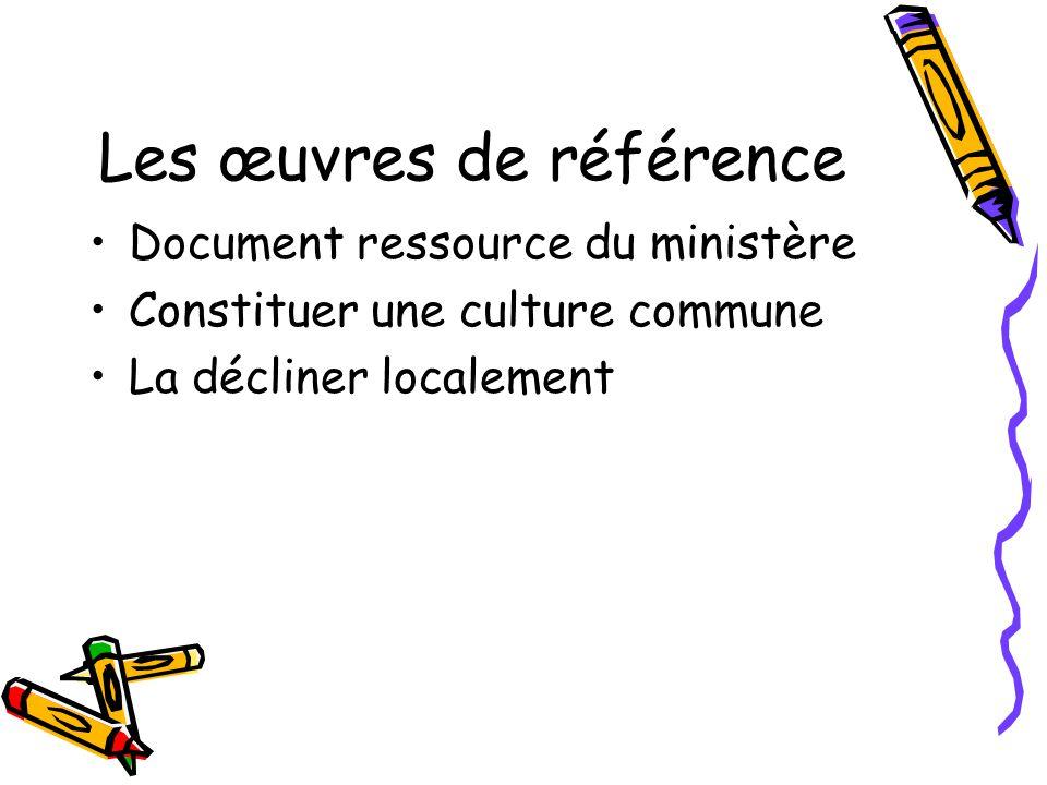 Les œuvres de référence Document ressource du ministère Constituer une culture commune La décliner localement