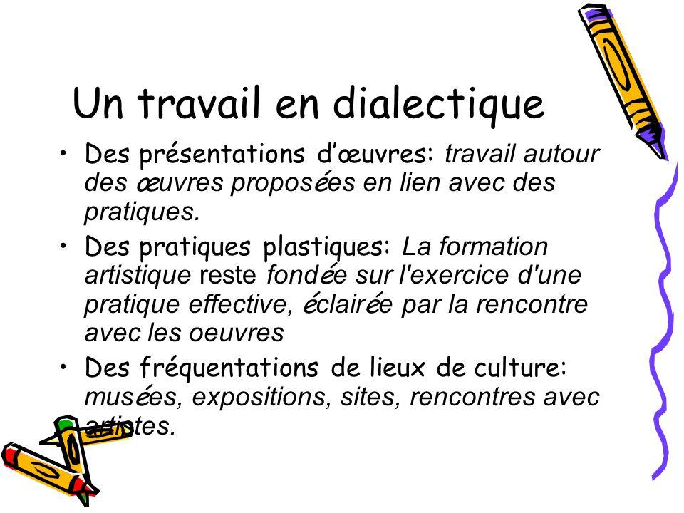 Un travail en dialectique Des présentations dœuvres: travail autour des œ uvres propos é es en lien avec des pratiques. Des pratiques plastiques: La f