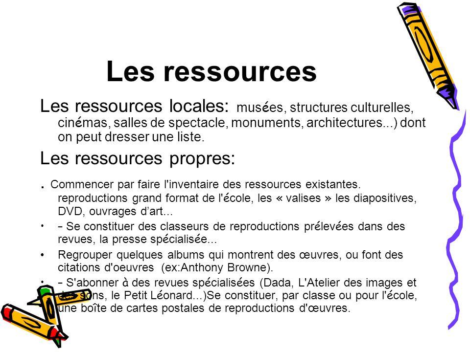Les ressources Les ressources locales: mus é es, structures culturelles, cin é mas, salles de spectacle, monuments, architectures...) dont on peut dre