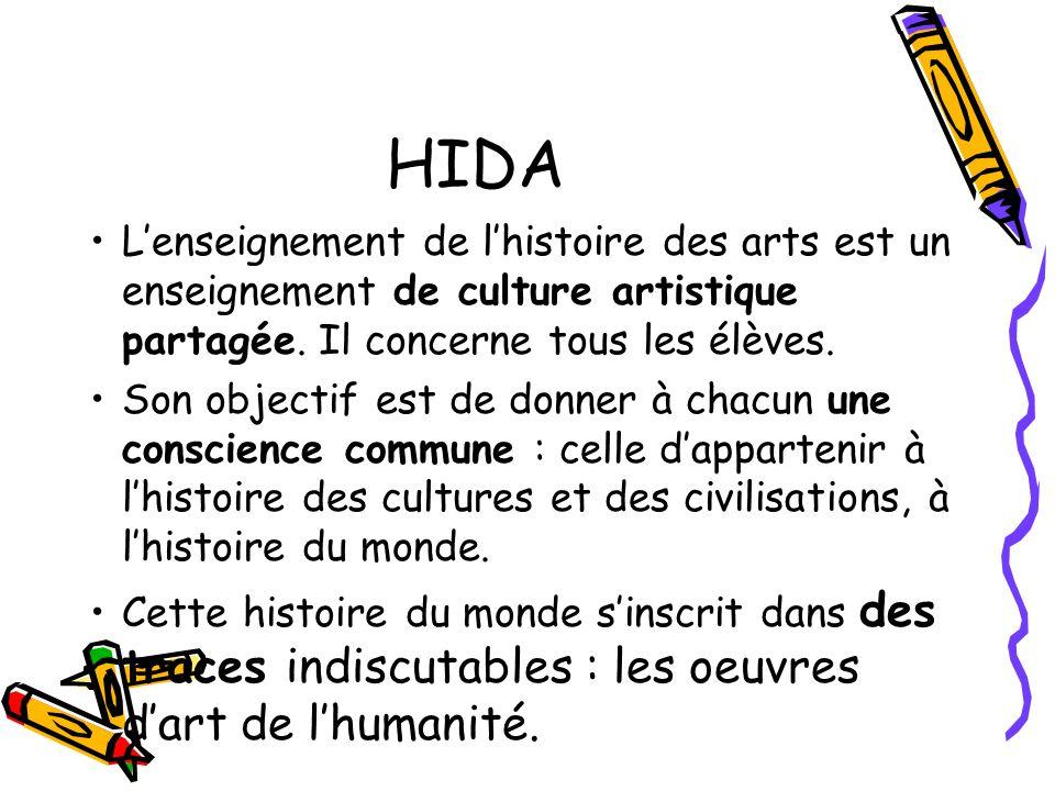 HIDA Lenseignement de lhistoire des arts est un enseignement de culture artistique partagée. Il concerne tous les élèves. Son objectif est de donner à