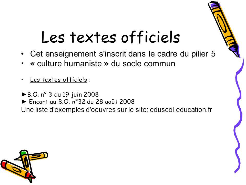 Les textes officiels Cet enseignement s'inscrit dans le cadre du pilier 5 « culture humaniste » du socle commun Les textes officiels : B.O. n° 3 du 19