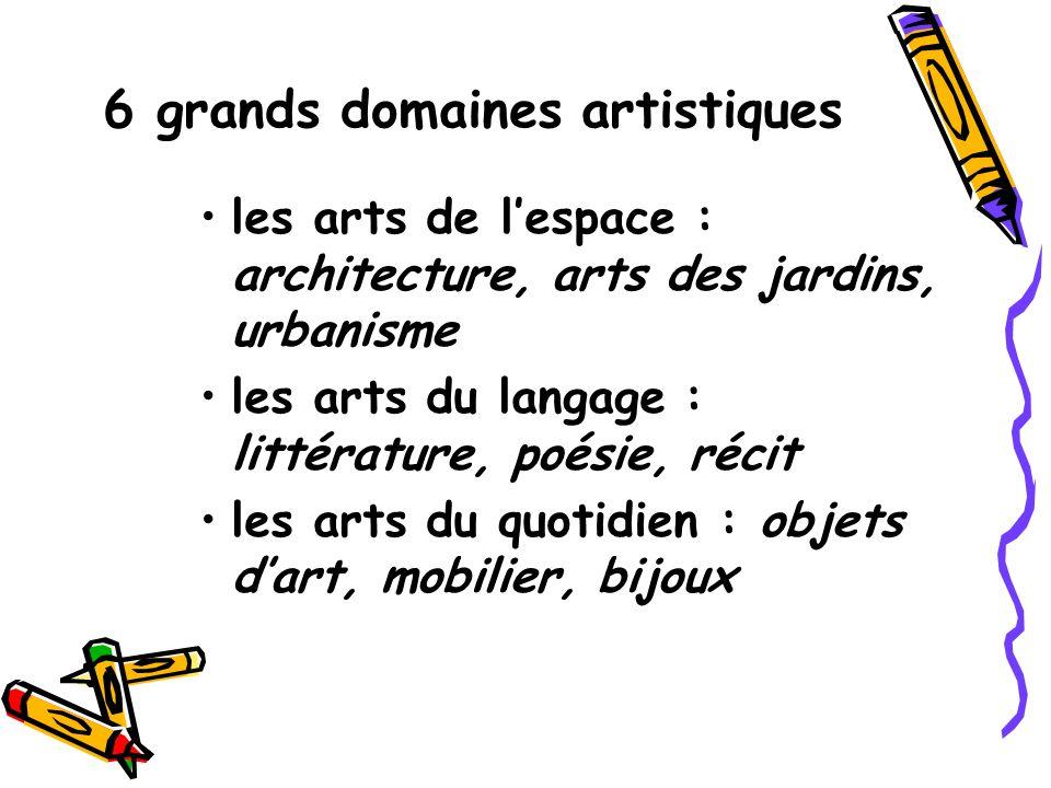 6 grands domaines artistiques les arts de lespace : architecture, arts des jardins, urbanisme les arts du langage : littérature, poésie, récit les art