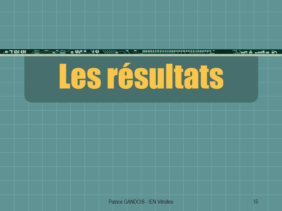 Patrice GANDOIS - IEN Vitrolles16 Les résultats