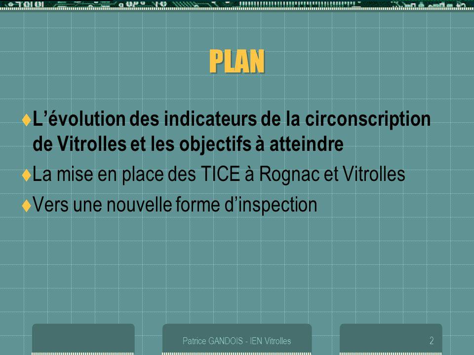 Patrice GANDOIS - IEN Vitrolles2 PLAN Lévolution des indicateurs de la circonscription de Vitrolles et les objectifs à atteindre La mise en place des