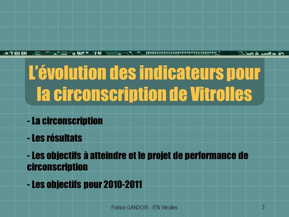 Patrice GANDOIS - IEN Vitrolles3 Lévolution des indicateurs pour la circonscription de Vitrolles - La circonscription - Les résultats - Les objectifs