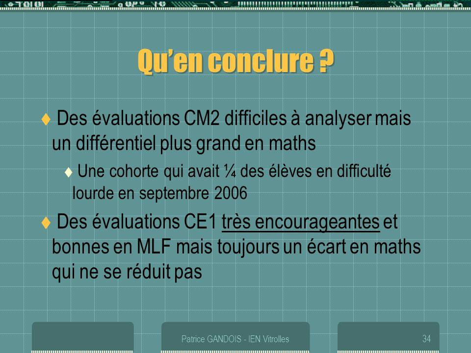 Patrice GANDOIS - IEN Vitrolles34 Quen conclure ? Des évaluations CM2 difficiles à analyser mais un différentiel plus grand en maths Une cohorte qui a