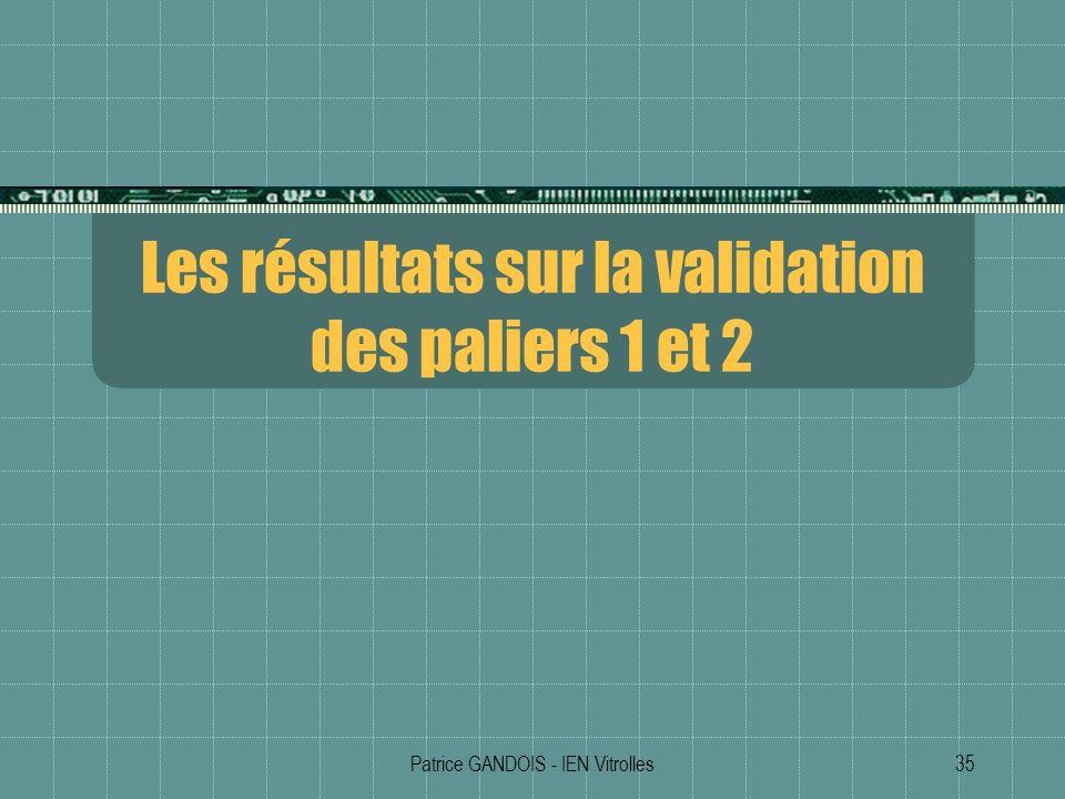 Patrice GANDOIS - IEN Vitrolles35 Les résultats sur la validation des paliers 1 et 2