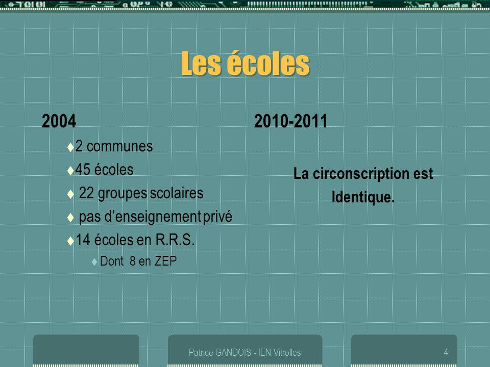 Patrice GANDOIS - IEN Vitrolles4 Les écoles 2004 2 communes 45 écoles 22 groupes scolaires pas denseignement privé 14 écoles en R.R.S. Dont 8 en ZEP 2