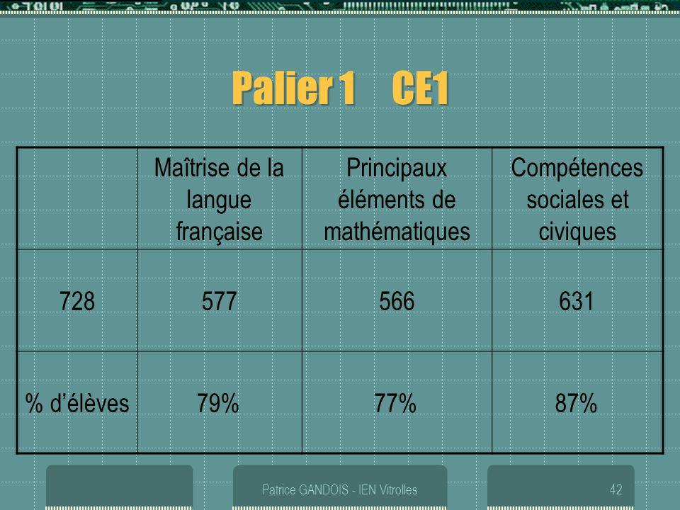 Patrice GANDOIS - IEN Vitrolles42 Palier 1 CE1 Maîtrise de la langue française Principaux éléments de mathématiques Compétences sociales et civiques 7