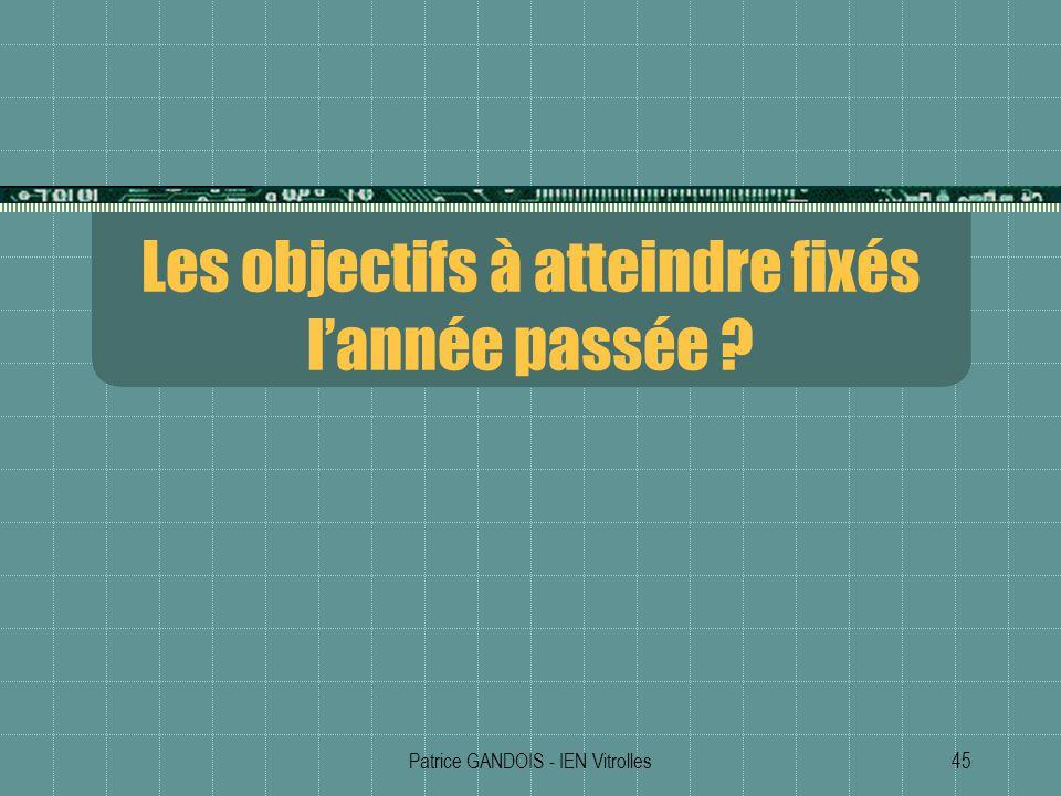 Patrice GANDOIS - IEN Vitrolles45 Les objectifs à atteindre fixés lannée passée ?