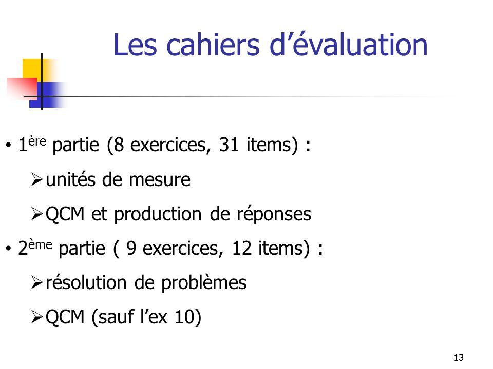 Les cahiers dévaluation 1 ère partie (8 exercices, 31 items) : unités de mesure QCM et production de réponses 2 ème partie ( 9 exercices, 12 items) :