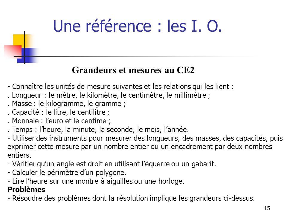 15 Une référence : les I. O. - Connaître les unités de mesure suivantes et les relations qui les lient :. Longueur : le mètre, le kilomètre, le centim