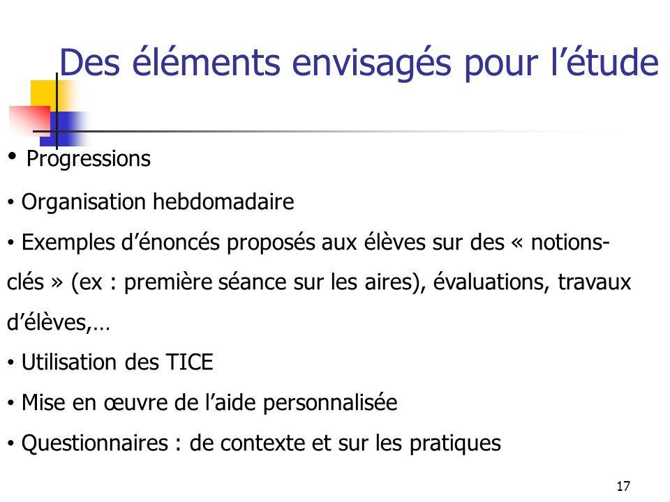 Des éléments envisagés pour létude Progressions Organisation hebdomadaire Exemples dénoncés proposés aux élèves sur des « notions- clés » (ex : premiè