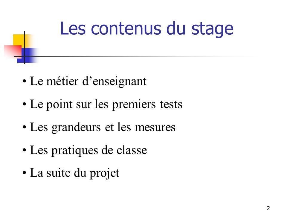 Les contenus du stage Le métier denseignant Le point sur les premiers tests Les grandeurs et les mesures Les pratiques de classe La suite du projet 2