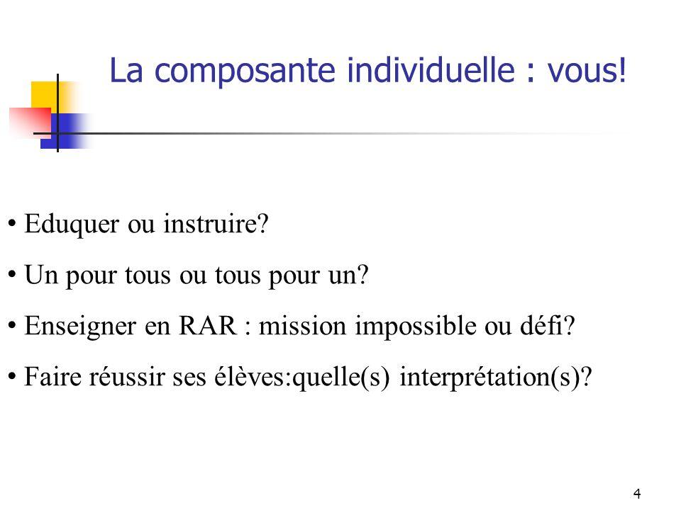 4 Eduquer ou instruire? Un pour tous ou tous pour un? Enseigner en RAR : mission impossible ou défi? Faire réussir ses élèves:quelle(s) interprétation