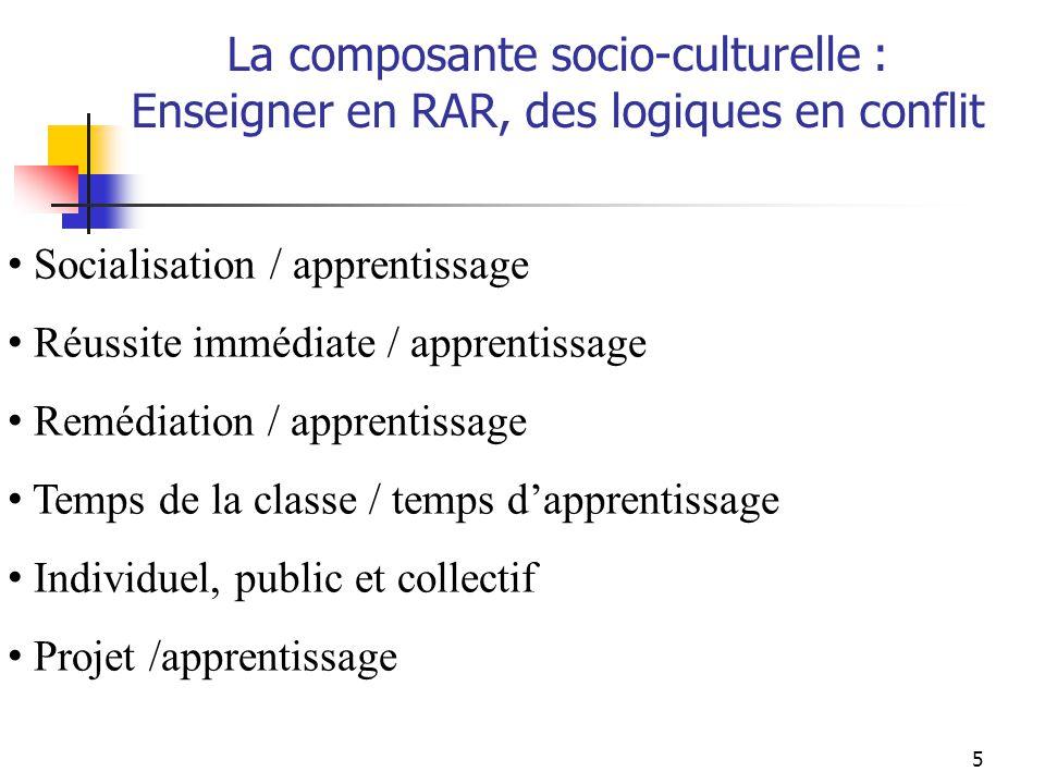 5 Socialisation / apprentissage Réussite immédiate / apprentissage Remédiation / apprentissage Temps de la classe / temps dapprentissage Individuel, public et collectif Projet /apprentissage La composante socio-culturelle : Enseigner en RAR, des logiques en conflit