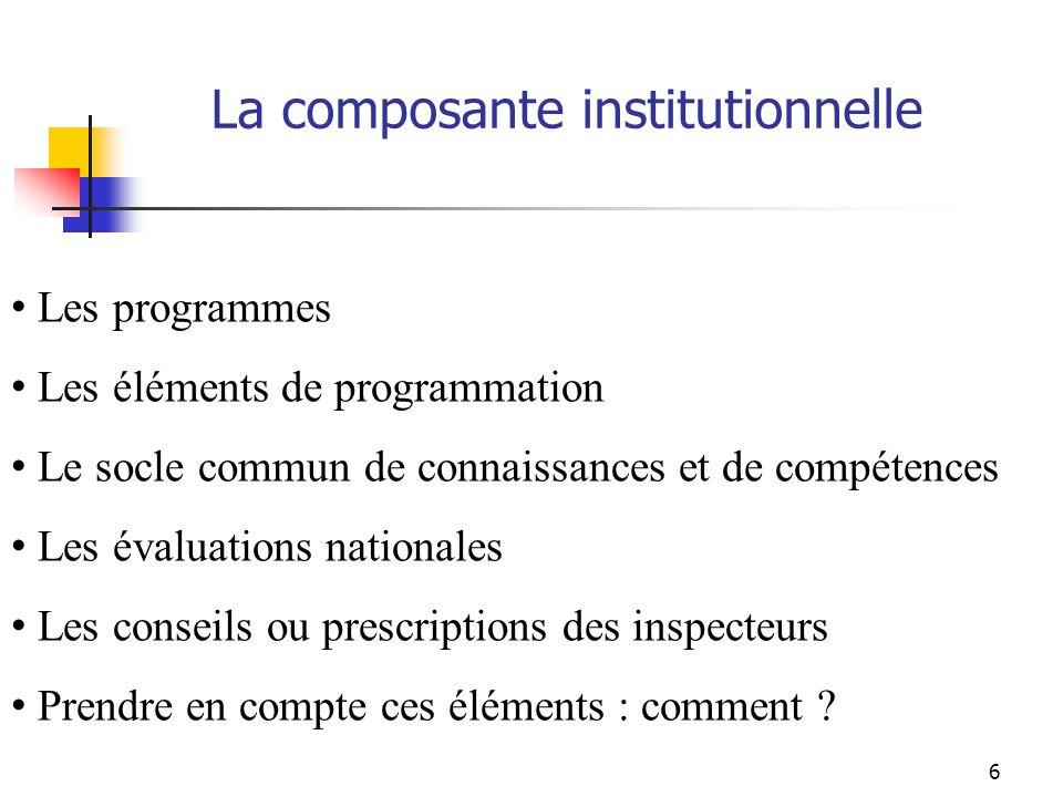 6 Les programmes Les éléments de programmation Le socle commun de connaissances et de compétences Les évaluations nationales Les conseils ou prescriptions des inspecteurs Prendre en compte ces éléments : comment .