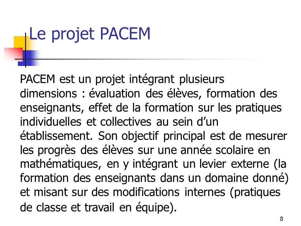 Le projet PACEM PACEM est un projet intégrant plusieurs dimensions : évaluation des élèves, formation des enseignants, effet de la formation sur les p