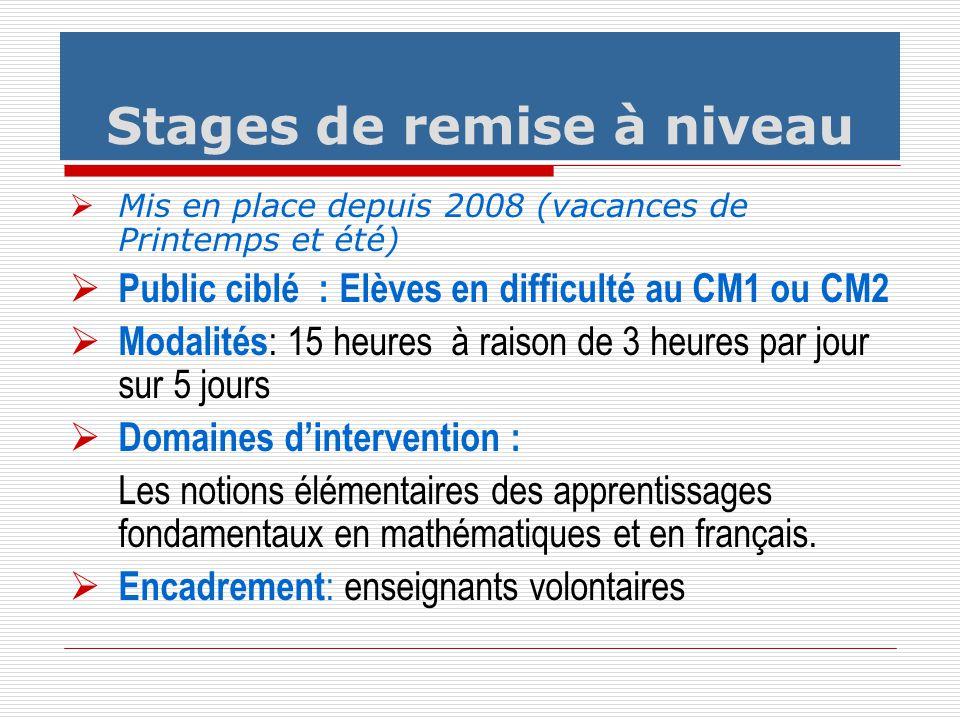 Mis en place depuis 2008 (vacances de Printemps et été) Public ciblé : Elèves en difficulté au CM1 ou CM2 Modalités : 15 heures à raison de 3 heures p
