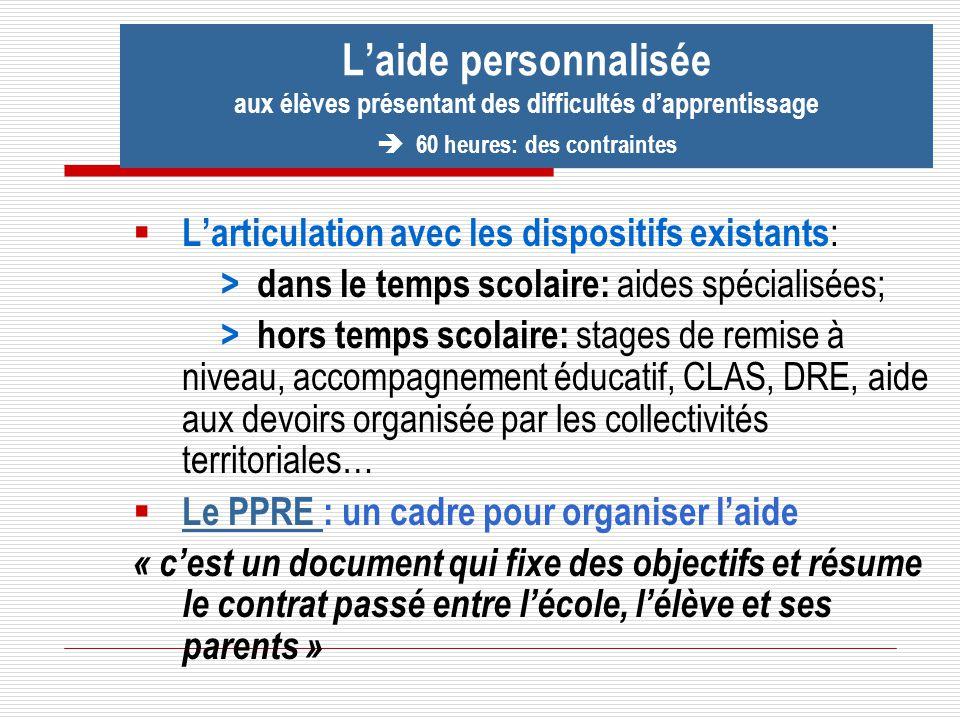 Larticulation avec les dispositifs existants : > dans le temps scolaire: aides spécialisées; > hors temps scolaire: stages de remise à niveau, accompa