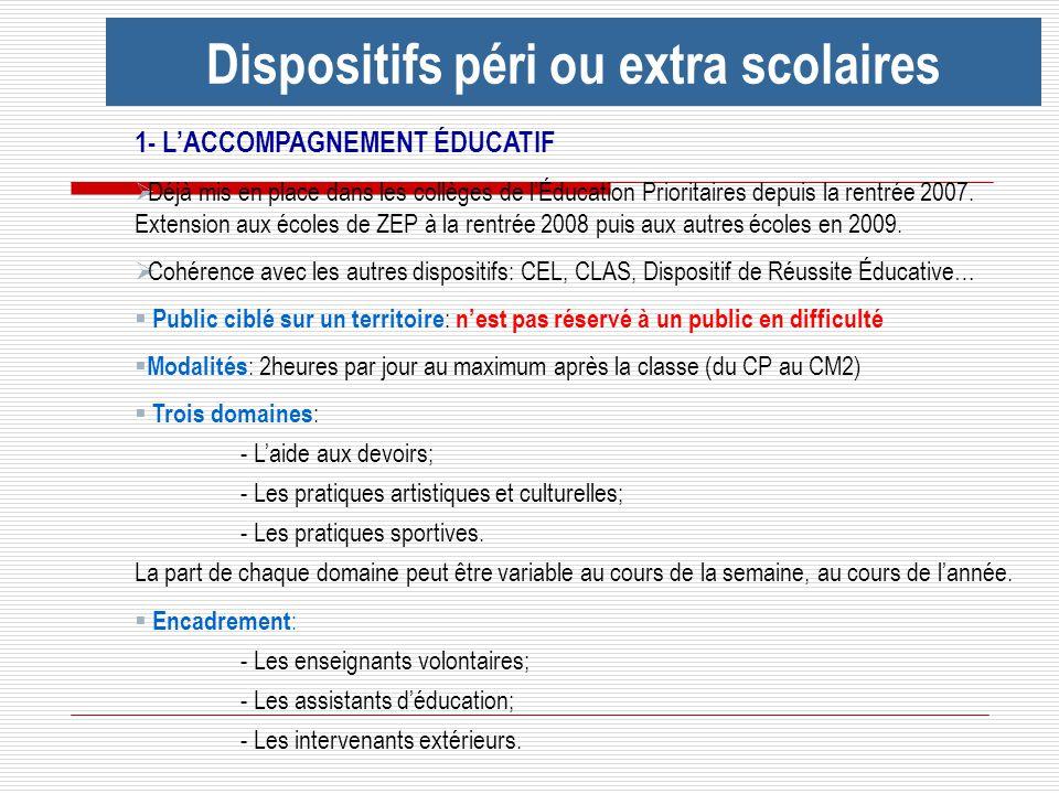 Dispositifs péri ou extra scolaires 1- LACCOMPAGNEMENT ÉDUCATIF Déjà mis en place dans les collèges de lÉducation Prioritaires depuis la rentrée 2007.
