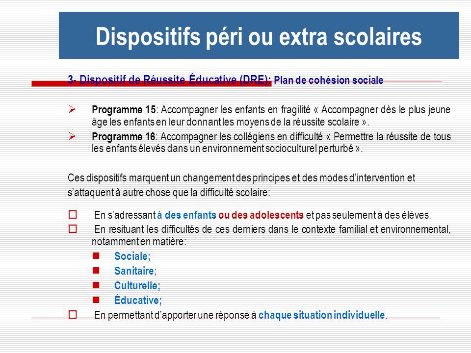 3- Dispositif de Réussite Éducative (DRE): Plan de cohésion sociale Programme 15 : Accompagner les enfants en fragilité « Accompagner dès le plus jeun