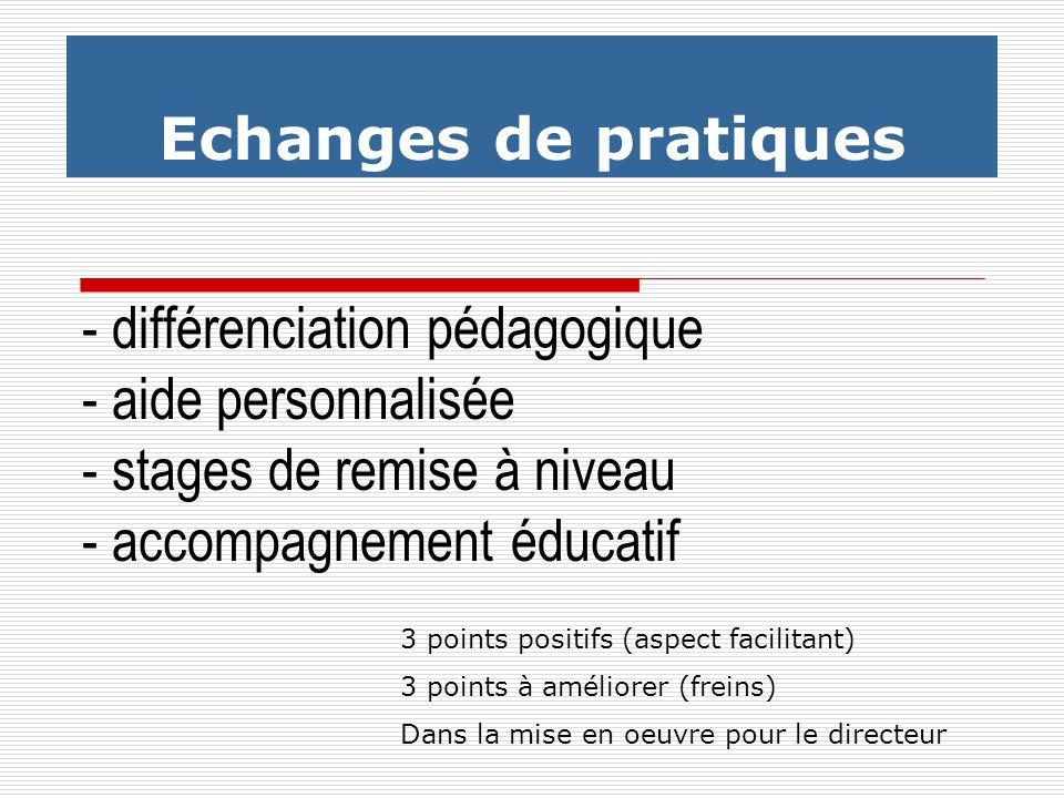 - différenciation pédagogique - aide personnalisée - stages de remise à niveau - accompagnement éducatif Echanges de pratiques 3 points positifs (aspe