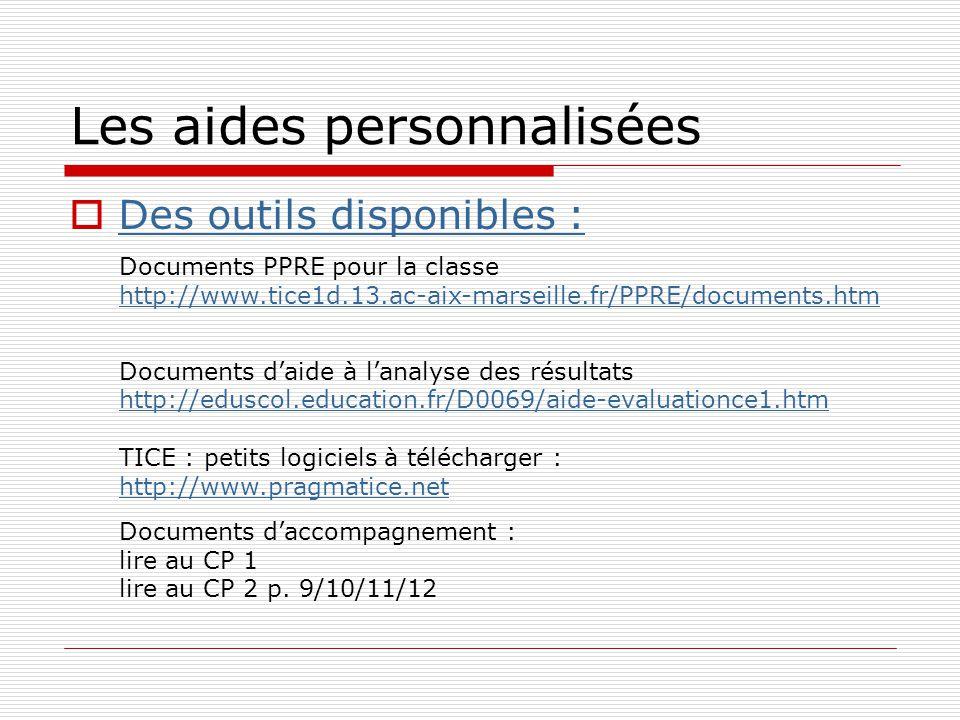 Les aides personnalisées Des outils disponibles : Documents PPRE pour la classe http://www.tice1d.13.ac-aix-marseille.fr/PPRE/documents.htm Documents