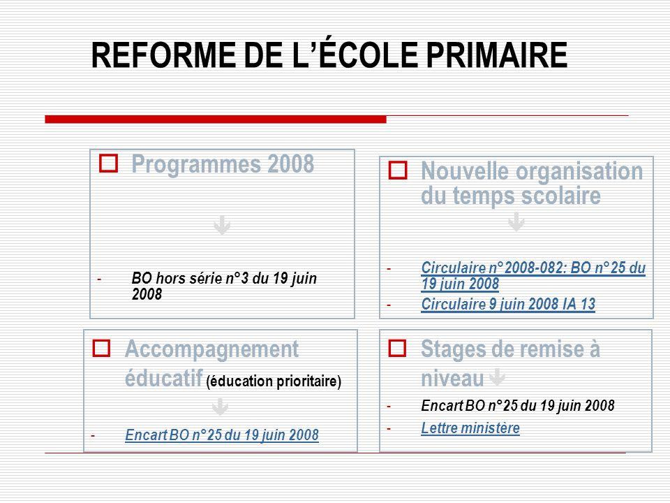 Programmes 2008 - BO hors série n°3 du 19 juin 2008 Nouvelle organisation du temps scolaire - Circulaire n°2008-082: BO n°25 du 19 juin 2008 Circulair
