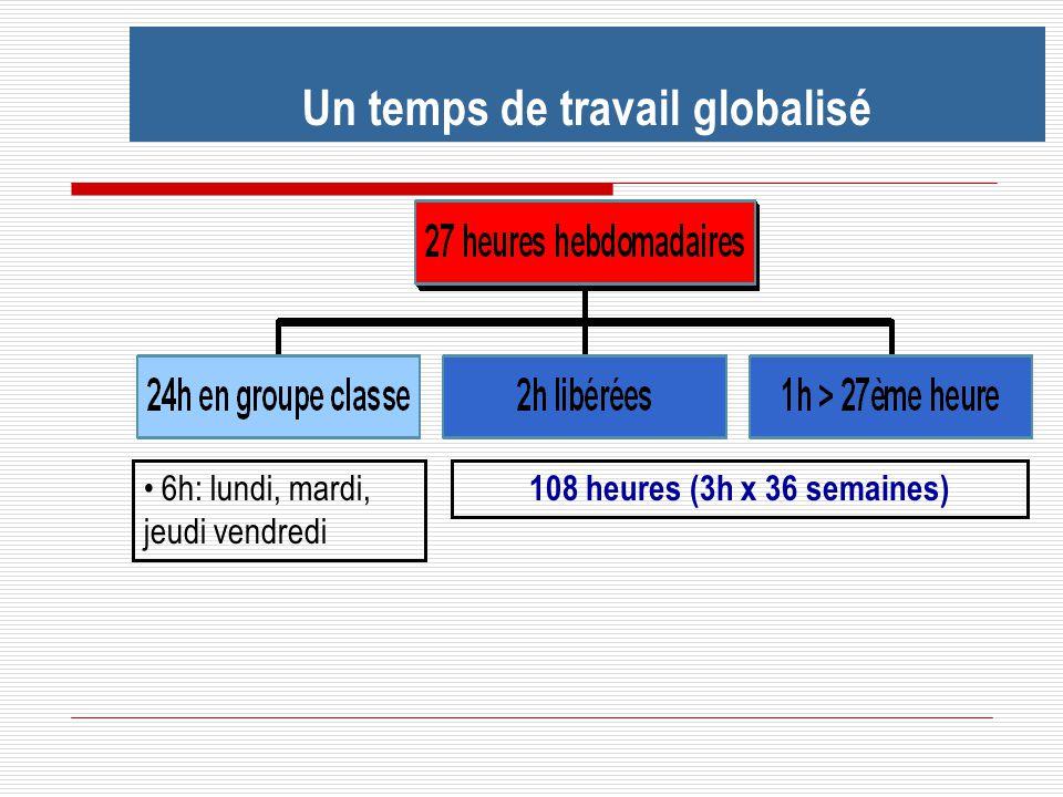 Un temps de travail globalisé 108 heures (3h x 36 semaines) 6h: lundi, mardi, jeudi vendredi