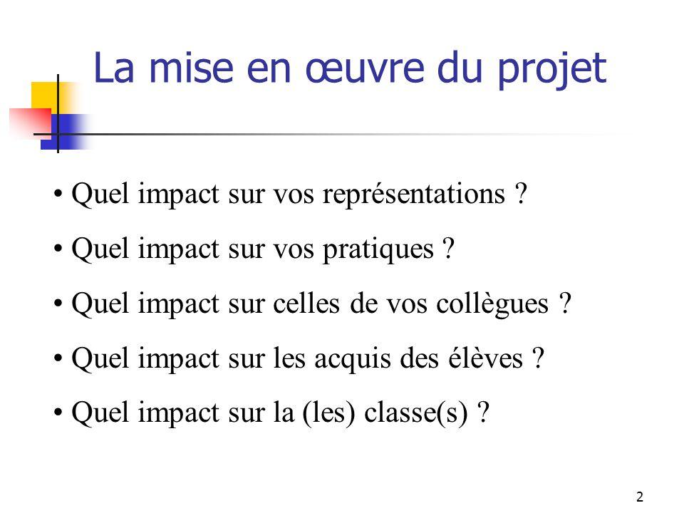 La mise en œuvre du projet Quel impact sur vos représentations .