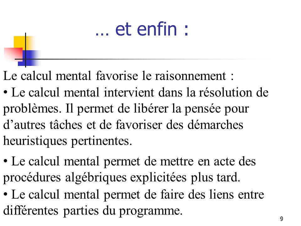 9 … et enfin : Le calcul mental permet de mettre en acte des procédures algébriques explicitées plus tard.