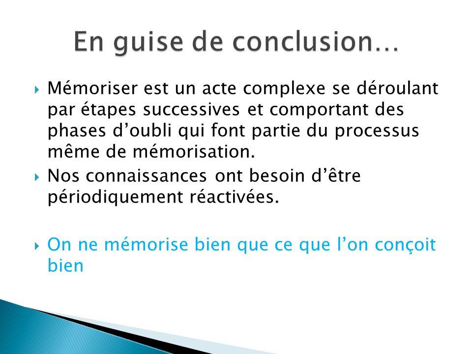 Mémoriser est un acte complexe se déroulant par étapes successives et comportant des phases doubli qui font partie du processus même de mémorisation.