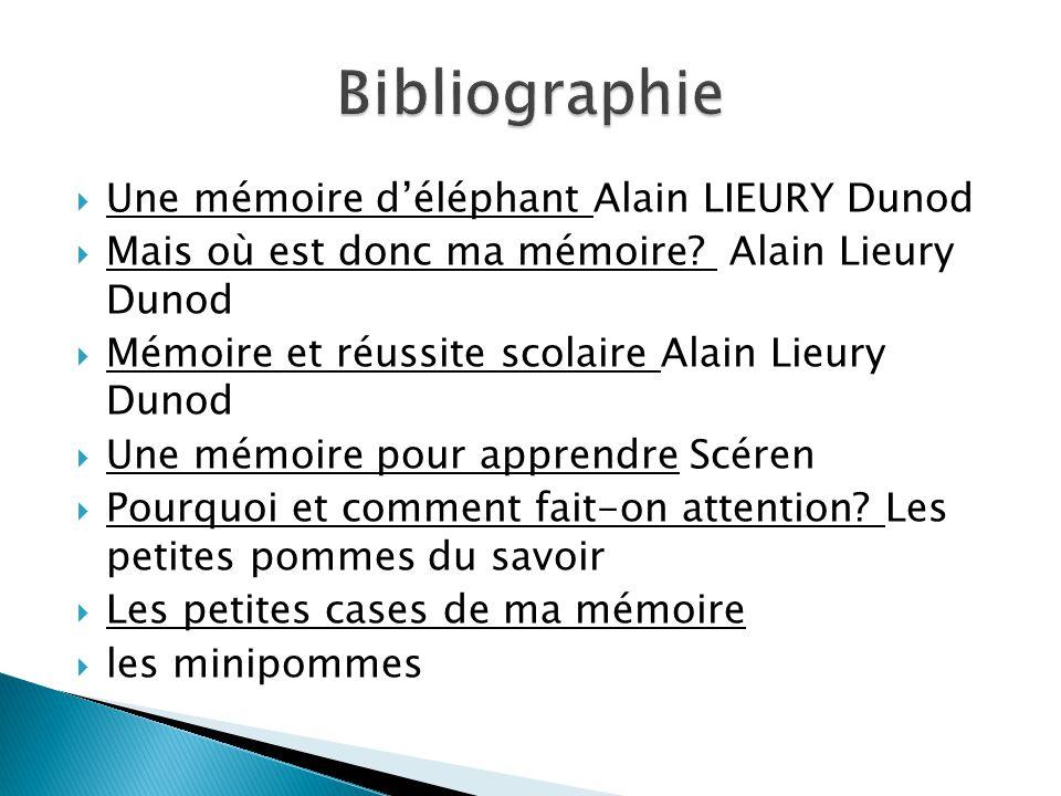 Une mémoire déléphant Alain LIEURY Dunod Mais où est donc ma mémoire? Alain Lieury Dunod Mémoire et réussite scolaire Alain Lieury Dunod Une mémoire p