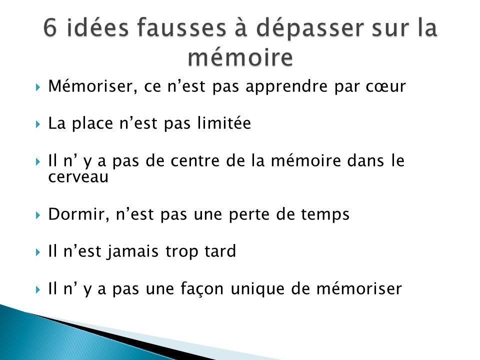 Mémoriser, ce nest pas apprendre par cœur La place nest pas limitée Il n y a pas de centre de la mémoire dans le cerveau Dormir, nest pas une perte de