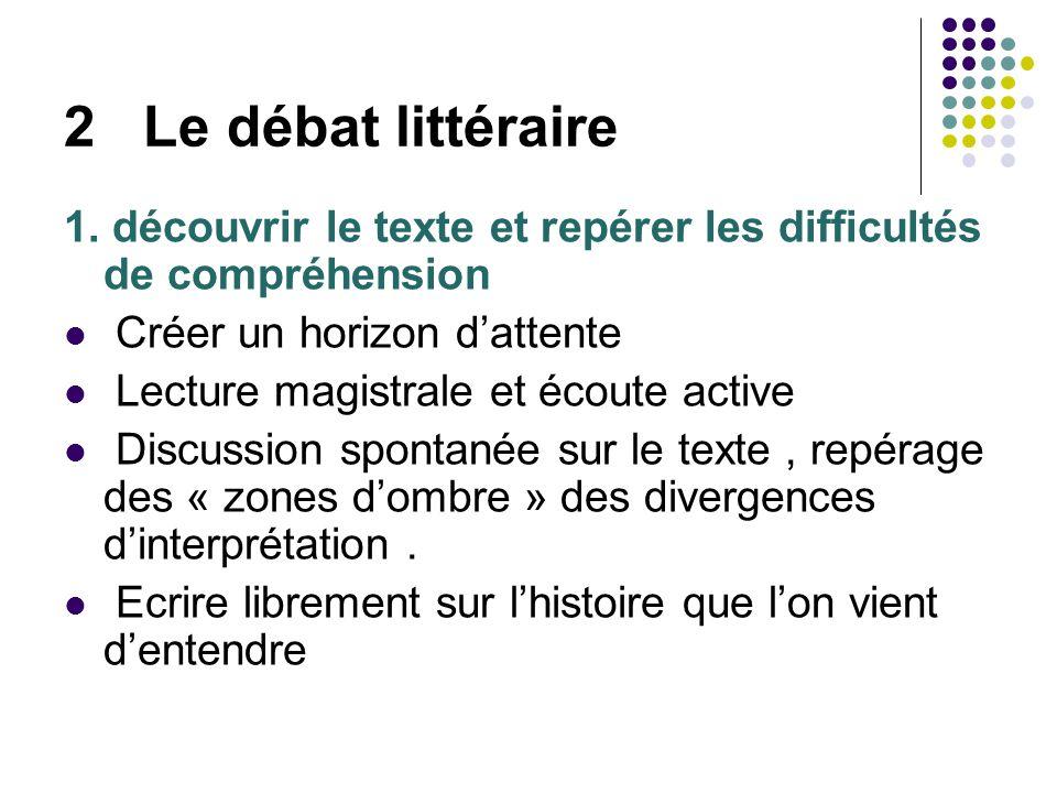 2 Le débat littéraire 1. découvrir le texte et repérer les difficultés de compréhension Créer un horizon dattente Lecture magistrale et écoute active