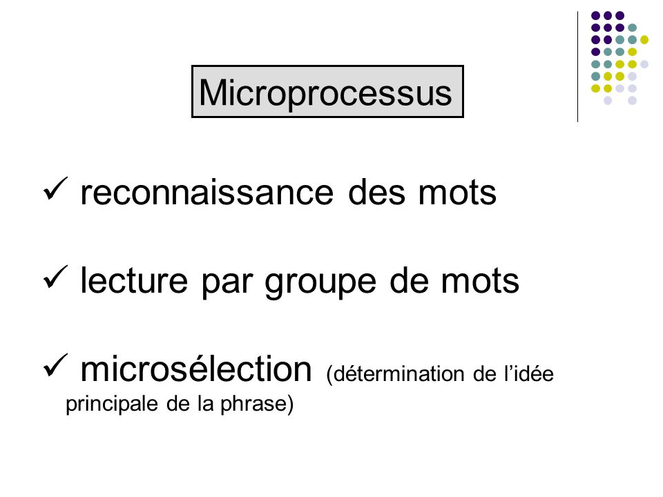 reconnaissance des mots lecture par groupe de mots microsélection (détermination de lidée principale de la phrase) Microprocessus