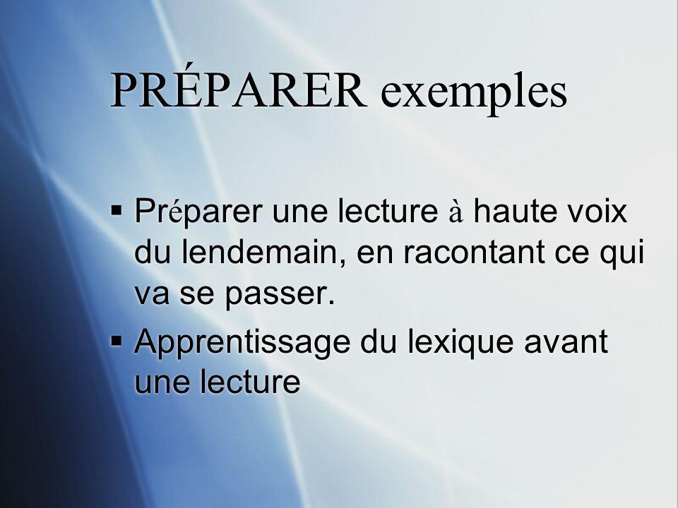 PRÉPARER exemples Pr é parer une lecture à haute voix du lendemain, en racontant ce qui va se passer.
