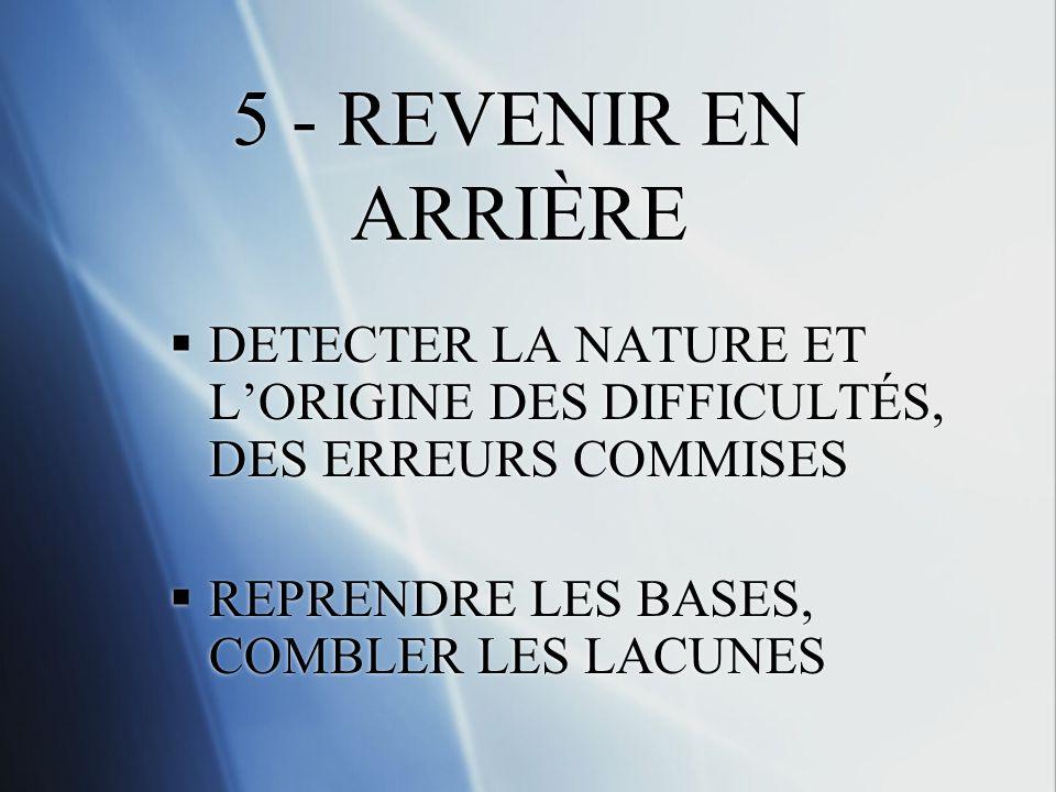 5 - REVENIR EN ARRIÈRE DETECTER LA NATURE ET LORIGINE DES DIFFICULTÉS, DES ERREURS COMMISES REPRENDRE LES BASES, COMBLER LES LACUNES DETECTER LA NATURE ET LORIGINE DES DIFFICULTÉS, DES ERREURS COMMISES REPRENDRE LES BASES, COMBLER LES LACUNES