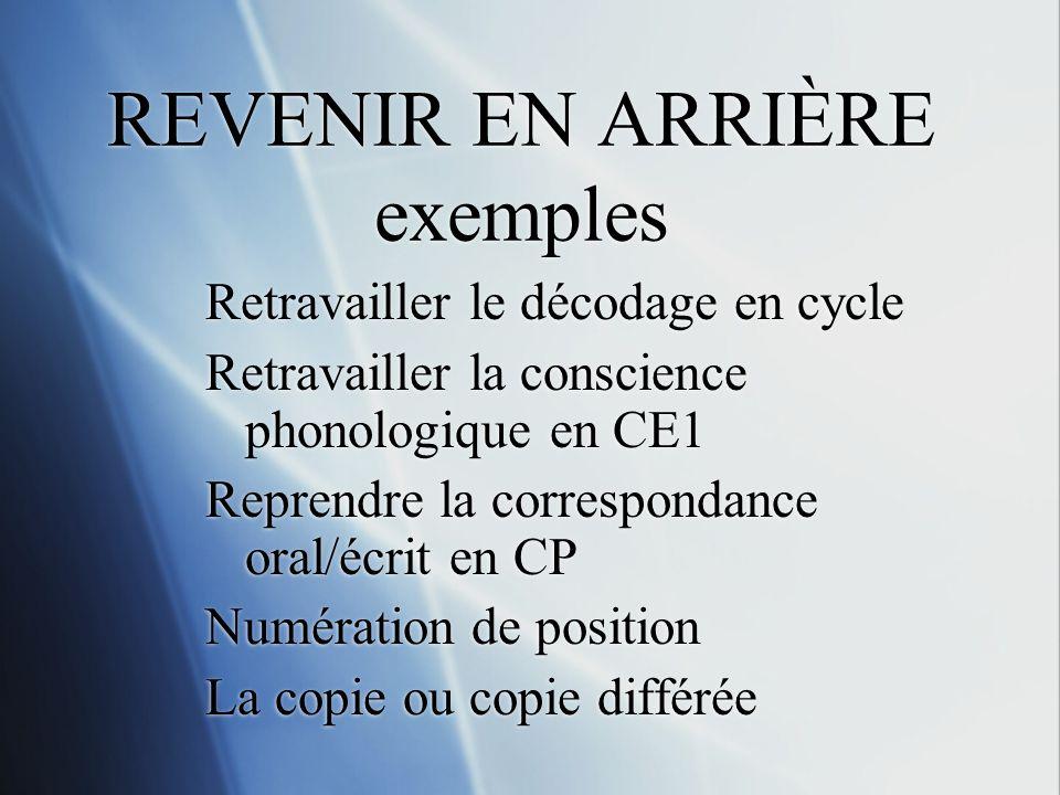 REVENIR EN ARRIÈRE exemples Retravailler le décodage en cycle Retravailler la conscience phonologique en CE1 Reprendre la correspondance oral/écrit en