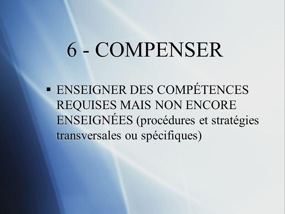 6 - COMPENSER ENSEIGNER DES COMPÉTENCES REQUISES MAIS NON ENCORE ENSEIGNÉES (procédures et stratégies transversales ou spécifiques)